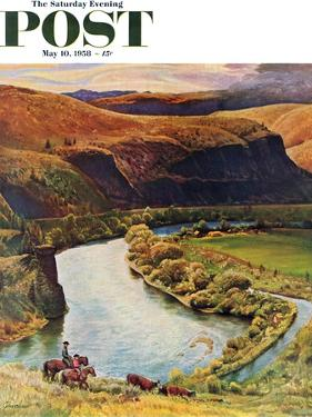 """""""Yakima River Cattle Roundup"""" Saturday Evening Post Cover, May 10, 1958 by John Clymer"""