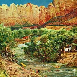 """Zion Canyon,"" July 9, 1960 by John Clymer"
