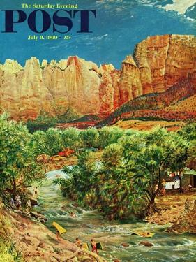 """Zion Canyon,"" Saturday Evening Post Cover, July 9, 1960 by John Clymer"