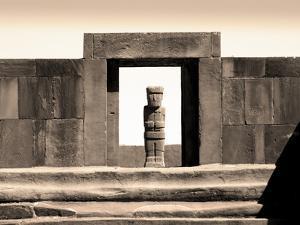 Bolivia, Tiahuanaco Ruins, Ponce Monolith Statue, Temple Gateway, Kalasasya Courtyard by John Coletti