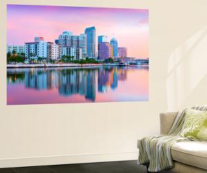 Florida, Tampa, Skyline, Dawn, Hillsborough River by John Coletti