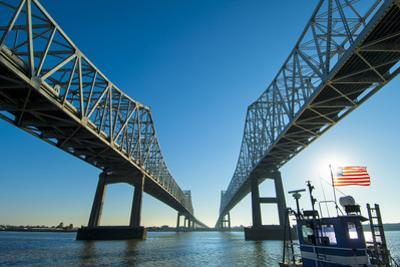 Louisiana, New Orleans, Twin Cantilever Bridges, Mississippi River, Tugboat
