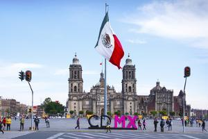 Mexico, Mexico City, Metropolitan Cathedral, Zocalo, Main Plaza, Mexican Flag, CDMX Letters, City o by John Coletti