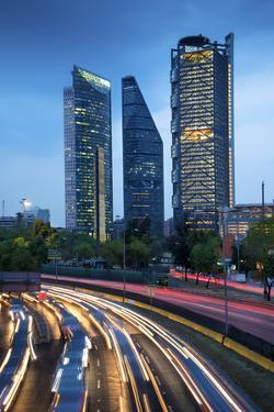 Mexico, Mexico City, Traffic Passes By Mexico City's Three Towers, Tallest Skyscrapers In The City, by John Coletti