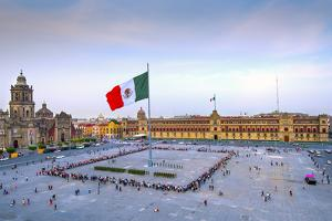 Mexico, Mexico City, Zocalo, Main Square, Lowering Of The Mexican Flag, National Palace, Palacio Na by John Coletti