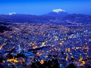 Mount Illimani, Andes Mountains, Templo Andino Jach'A Apacheta Mirador, Views of La Paz from El Alt by John Coletti