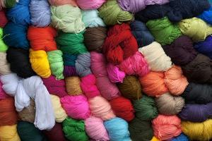 Saquisili Market, Balls of Dyed Yarn for Sale, Wool, Saquisili, Cotopaxi Province, Ecuador by John Coletti