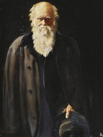 Portrait of Charles Darwin, standing three quarter length by John Collier