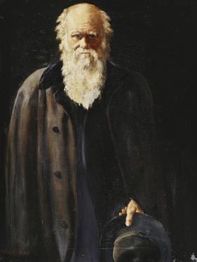 Portrait of Charles Darwin, standing three quarter length by John Collier