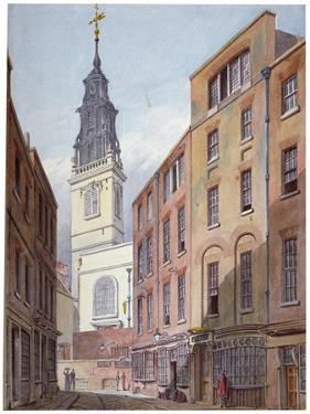 Church of St Michael, Crooked Lane and Part of Crooked Lane, City of London, C1815 by John Coney