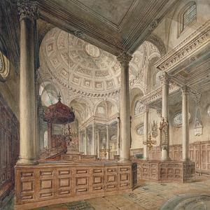 Interior View of the Church of St Stephen Walbrook, City of London, 1811 by John Coney