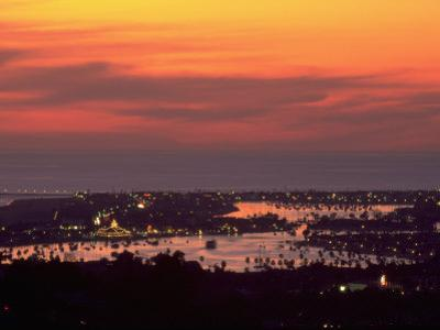 Newport Beach and Marina at Night, California