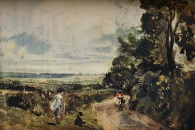 'A Country Road with Trees and Figures (recto); Willy Lott's House (verso)', c1830 by John Constable