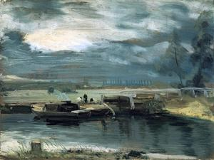 Barges on the Stour, with Dedham Church in the Distance, 1811 by John Constable