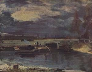 'Barges on the Stour, with Dedham Church in the distance', c1811 by John Constable