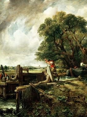 Barges Passing a Lock on the Stour by John Constable