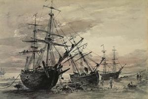 Coal Brigs on Brighton Beach, C.1824 by John Constable
