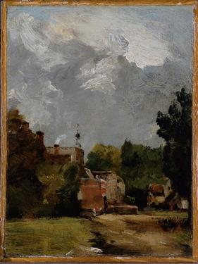 East Bergholt Church from Church Street (Oil on Paper on Panel) by John Constable