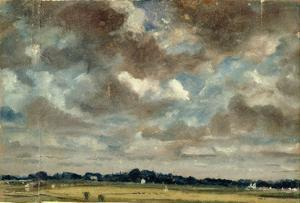 Extensive Landscape with Grey Clouds, C.1821 (Oil on Paper on Canvas) by John Constable