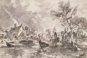 Flatford Old Mill Cottage on the Stour, Pen and Wash by John Constable