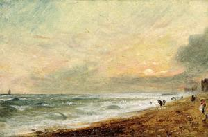 Hove Beach, C.1824 (Oil on Paper on Panel) by John Constable