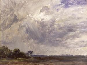 Landscape with Grey Windy Sky, C.1821-30 (Oil on Paper Laid Down on Millboard) by John Constable