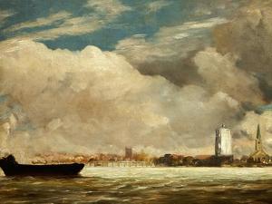 On the Thames Near Battersea Bridge, circa 1816 by John Constable