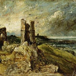 Sketch of Hadleigh Castle (Recto) (Oil on Millboard) by John Constable