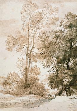 Trees and Deer, after Claude, 1825 (Pen and Ink with Wash on Paper) by John Constable