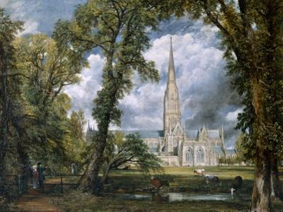 'View of Salisbury Cathedral from the Bishop's Grounds', Wiltshire, c1822 by John Constable