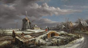 Winter Landscape with Figures on a Path, a Footbridge and Windmills Beyond by John Constable