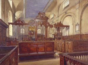 Interior of the Church of All Hallows the Great, City of London, 1884 by John Crowther
