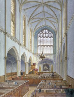 Interior view of a French Protestant church on St Martin's le Grand, City of London, 1886 by John Crowther
