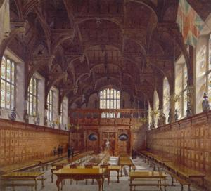 Interior view of Middle Temple Hall from the high table with figures, London, 1884 by John Crowther