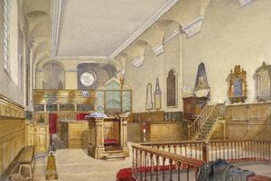 Interior view of St Michael's Church, Wood Street, City of London, 1888 by John Crowther