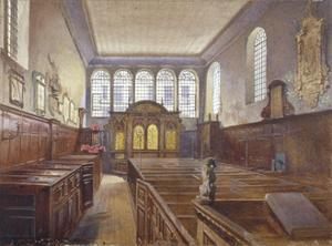 Interior view of the Church of St Matthew, Friday Street, City of London, 1881 by John Crowther