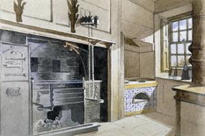 Kitchen range and Dutch oven, no 21 Austin Friars Street, City of London, 1885 by John Crowther