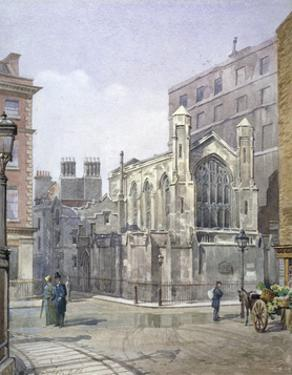 View of a French Protestant church on St Martin's le Grand, City of London, 1885 by John Crowther
