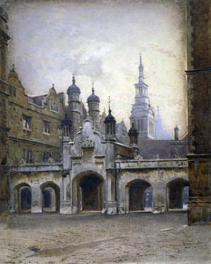 View of the new cloister in Christ's Hospital, Newgate Street, City of London, 1880 by John Crowther