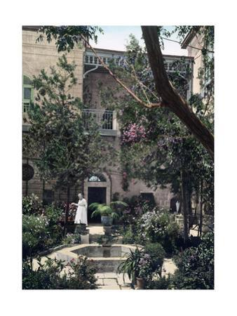A Lush Garden Courtyard in a Home of Islamic Architecture
