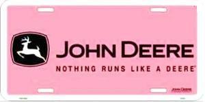 John Deere Pink Logo License Plate