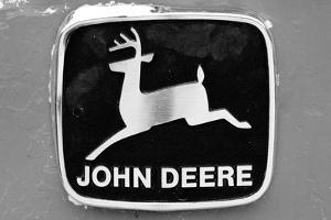 John Deere Vintage Tractor Emblem Black White Photo Poster