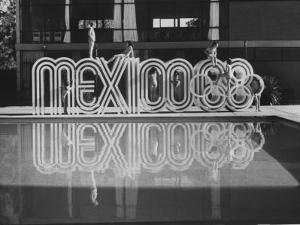 6 Foot Sign Will Stand Outside Each Arena and Stadium of 1968 Olympics, to Be Held in Mexico City by John Dominis