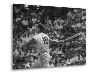 Action Shot of Cincinatti Red's Ted Kluszewski, Following the Direction of Baseball from His Hit by John Dominis