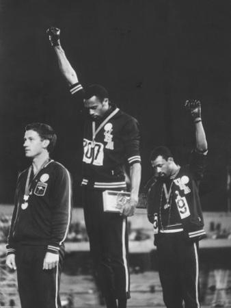 African-American Track Stars Tommie Smith and John Carlos after Winning Olympic Medals