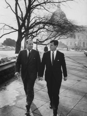 Aide John C. Culver Walking with Sen. Edward M. Kennedy by John Dominis