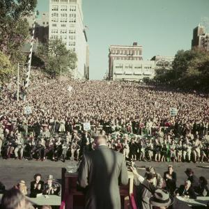 Dwight Eisenhower Speaking to Crowd During Presidential Campaign by John Dominis