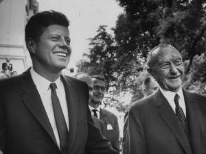 German Konrad Adenauer, with Guest President John F. Kennedy by John Dominis
