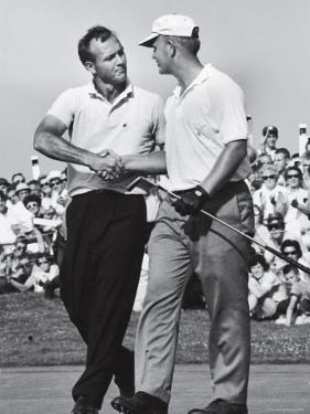 Golfer Jack Nicklaus and Arnold Palmer During National Open Tournament by John Dominis