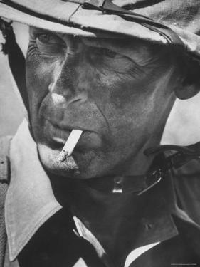 """Lt. Col. Martin """"Stormy"""" Sexton 3rd Marine Division, During Training Exercises at Okinawa Base by John Dominis"""